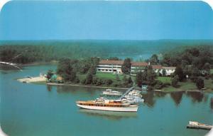Irvington Virginia~Tides Inn Aerial View~Miss Ann Yacht by Boat Dock~1950s Pc