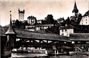 Luzern Spreuerbrucke covered bridge river wall tower Switzerland vtg postcard
