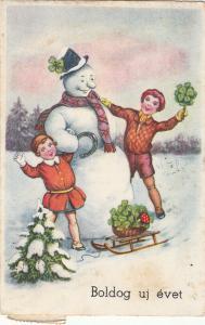 Hungary early winter seasonal greetings postcard snowman luck shamrock mushroom