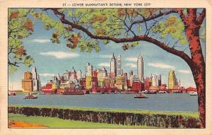 US N.Y. New York City, Lower Manhattan's Skyline 1945