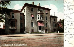 Old UDB postcard CARDINAL'S RESIDENCE, BALTIMORE, MD, 1907 POSTED