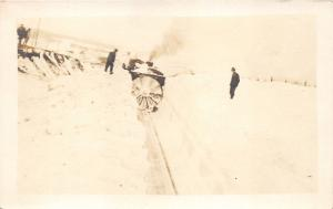Nebraska?~Train Plowing After Snow Storm~Men in Suits~c1920 Real Photo Postcard