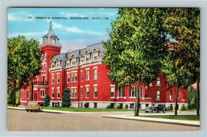 Menominee MI-Michigan, St Joseph's Hospital, Linen Postcard