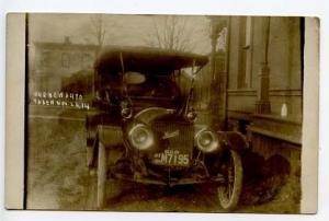 Cortland NY 1914 Maxwell NY Dealer Plate M7195 RPPC Real Photo Postcard