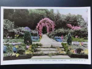 Canada: Victoria B.C. In The Rose Garden, Butchart's Gardens, RP Old Postcard