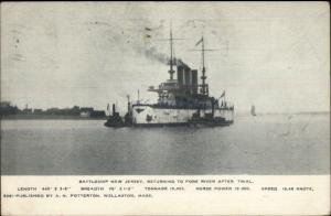 US Navy Naval Ship Battleship New Jersey Quincy MA 1906 Postcard