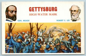 Postcard Generals Meade & Lee Civil War Battle Gettysburg High Water Mark AE10