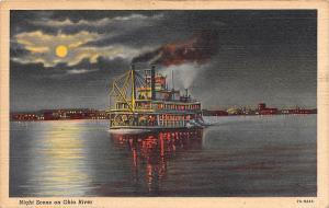 Night Scene on Ohio River, moonlight, ship schiff at night