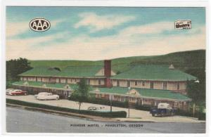 Pioneer Motel Cars US 30 Pendleton Oregon linen postcard