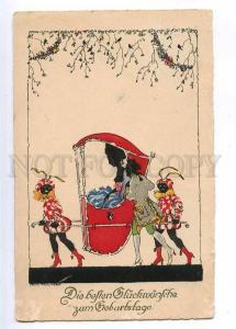 190121 ART NOUVEAU Black Boys Slave SILHOUETTE Vintage M&B