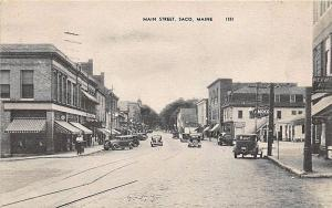 Saco ME Main Street Store Fronts Old Cars Amoco Gas Station Postcard
