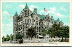 Kansas City, MO Fred Harvey Postcard H-1803 Jackson County Court House c1910s