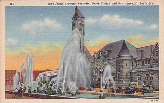 Aloe Plaza Showing Fountain Union Station And Post Office Saint Louis Missouri