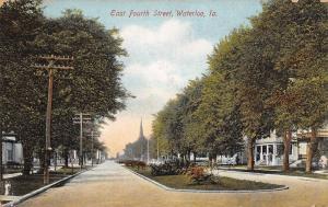 Waterloo Iowa~Church Steeple From E 4th St Boulevard~Big Porches 1907