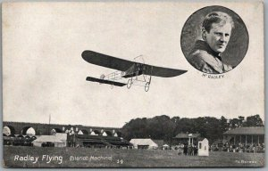 c1910s Early Aviation / Airplane Postcard RADLEY FLYING (Bleriot Machine)