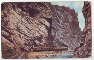 P1209 old postcard unused train railroad going threw the royal gorge colorado