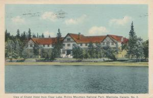 RIDING MOUNTAIN NATIONAL PARK , Manitoba, 1939; Chalet Hotel from Clear Lake