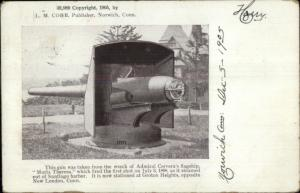 Groton Heights CT Gun From Admiral Cervera's Ship 1905 Postcard