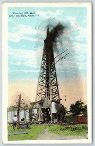 Sapulpa Oklahoma~Derrick Over Flowing Oil Well~1920s Postcard