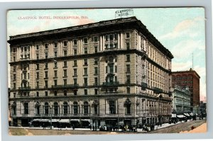 Indianapolis IN-Indiana, Claypool Hotel, Shops, Street Scene, Vintage Postcard