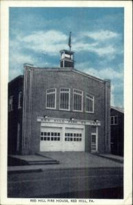 Red Hill PA Fire House Station Old Postcard