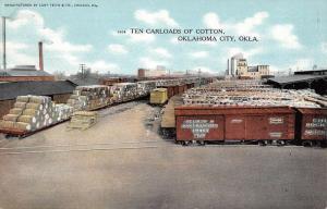 Oklahoma City Oklahoma Ten Carloads Of Cotton Antique Postcard K56579