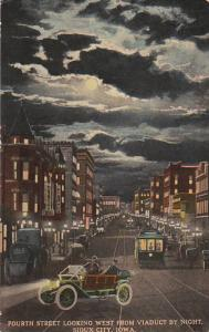 Fourth Street Looking West From Viaduct By Night Sioux City Iowa 1912