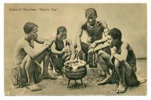 Zulus At Mealtime Mealie Pap, South Africa, 1900-1910s
