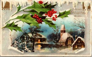 A Merry Christmas To You - Holly Winter Scene - Vintage - POSTCARD PC POSTED