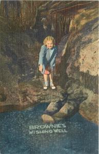 Blue Mounds Wisconsin~Cave of the Mounds~Brownie's Wishing Well~1940 Postcard