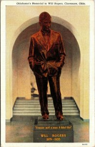 Postcard OK Oklahoma Claremore Will Rogers Memorial Statue Posted1940