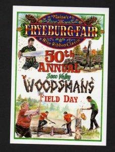 ME Fryeburg Fair Woodsmans Day, chopping wood, Maine Postcard PC County Fair