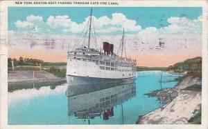 Massachusetts Boston New York Boston Boat Passing Through Cape Cod Canal 1934