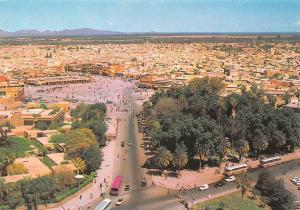 Morocco Marrakech Panorama Vue generale Jamaa El Fna Cars Busses