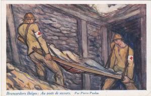 Red Cross ; Brancardiers Belges : Au Poste de secours. Par Pierre Paulaulus ,...
