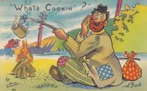 AS: Hobo cooking over open fire, train caboose, PU-1951