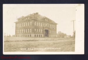 RPPC EUREKA KANSAS HIGH SCHOOL BUILDING M.L ZERCHER REAL PHOTO POSTCARD 2566