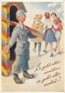 Postcard German humour comic caricature signed August Lengauer soldier rifle