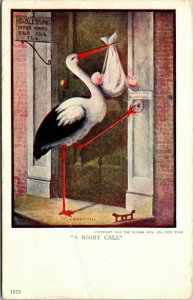 VINTAGE - ART - STORK - A NIGHT CALL - POSTCARD - 1907