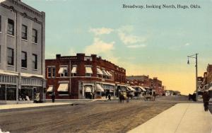 Hugo Oklahoma~Broadway North~Joel Springs Building~Bank~Horse Wagons~1908 PC