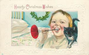 Unposted 1907-15 Embossed Printed Christmas PC Child Horn Black Cat Series 338 C