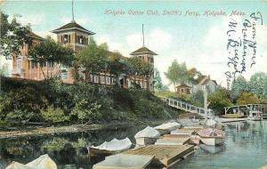 Holyoke Massachusetts~Smith's Ferry~Holyoke Canoe Club~Rowboats~1907 Postcard