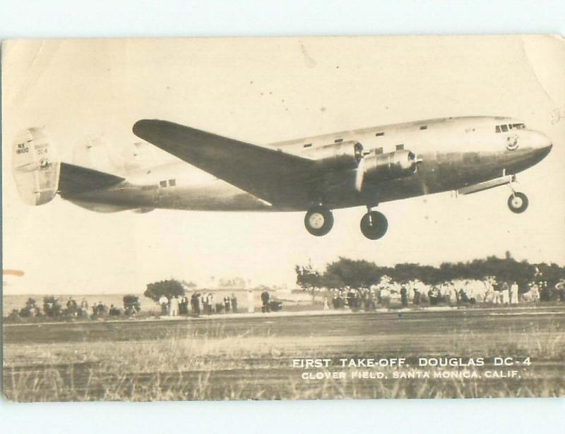 Pre-1942 rppc CLOVER FIELD DOUGLAS DC-4 PLANE Santa Monica Los Angeles CA i6153