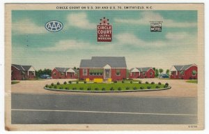 Smithfield,  North Carolina, Vintage Postcard View of Circle Court, 1954