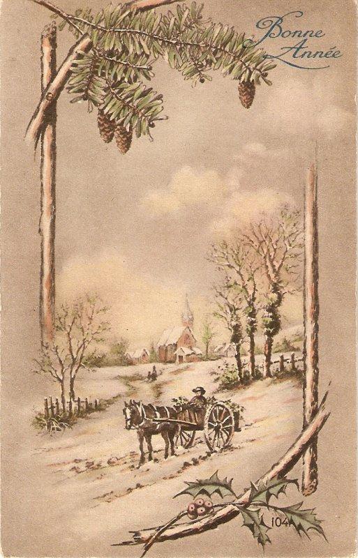 Winter landscape. Cart Horse Old vintage French postcard