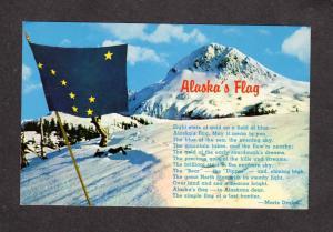 AK Alaska Flag Marie Drake Poem Alaskan Postcard Mt Mckinley