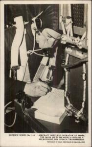 Aircraft Wireless Operator at Work Real Photo Postcard BRITISH DEFENCE
