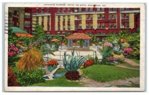 1936 Japanese Garden, Hotel De Soto, Savannah, GA Postcard