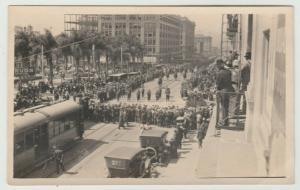 SAN DIEGO CA BROADWAY HORTON PLAZA RPPC REAL PHOTO 1907-17 parade Postcard