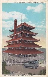 600 Ft. Above City, 1200ft., Above Sea Level, Pagoda Top Of Mt. Penn, Reading...